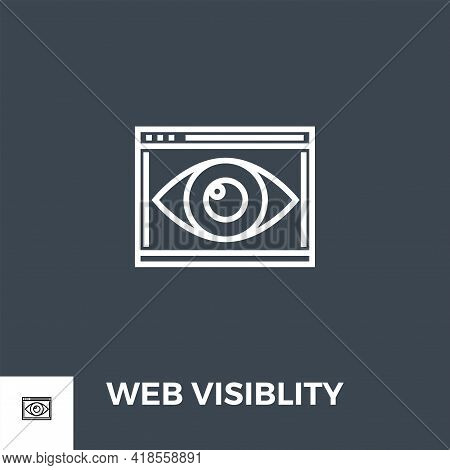 Web Visiblity Related Vector Thin Line Icon. Isolated On Black Background. Vector Illustration.