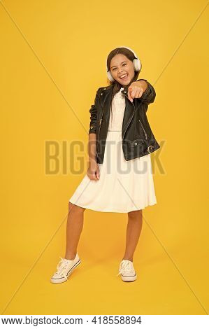 Small Girl Enjoy Dj Music. Happy Childhood Concept. Back To School. Online Karaoke Singing. Music In
