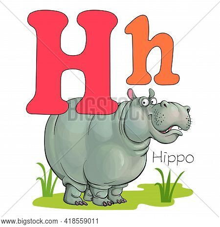 Vector Illustration. Alphabet With Animals. Large Capital Letter H With A Picture Of A Bright, Cute