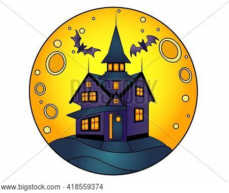 Halloween Manor On A Full Moon Background - Vector Linear Color Illustration For Halloween. Mansion