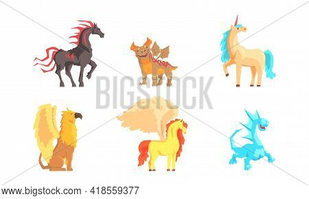 Fantastic Creatures With Fire Breathing Dragon And Pegasus Vector Set
