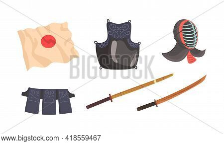Kendo Or Sword Path Attributes As Modern Japanese Martial Art With Bamboo Swords And Helmet Vector S