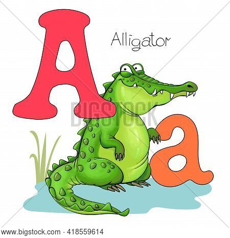 Vector Illustration. Alphabet With Animals. Large Capital Letter A With A Picture Of A Bright Cute A