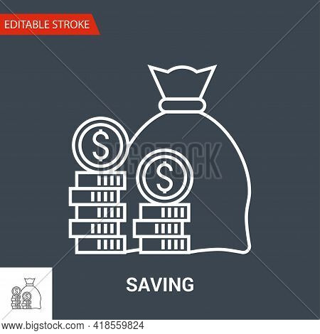 Saving Icon. Thin Line Vector Illustration - Adjust Stroke Weight - Expand To Any Size - Easy Change