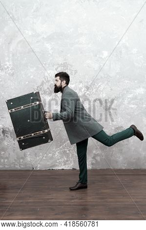 Hurrying To Work. Hurrying To Be First. Bearded Man With Suitsace Ready For Trip. Hurrying To New Go