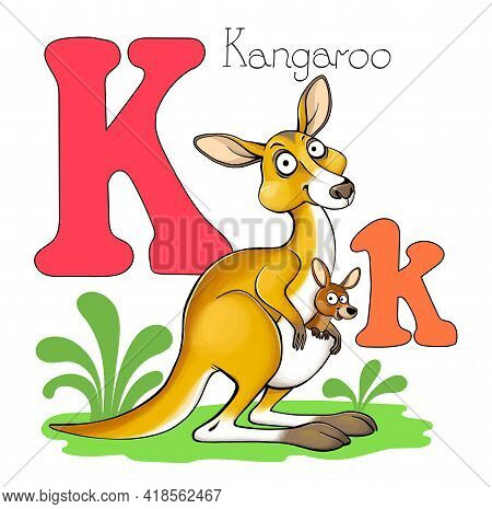 Vector Illustration. Alphabet With Animals. Large Capital Letter K With A Picture Of A Bright, Cute
