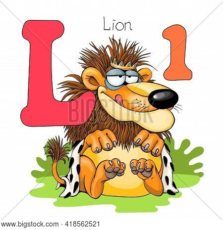 Vector Illustration. Alphabet With Animals. Large Capital Letter L With A Picture Of A Bright Cute L