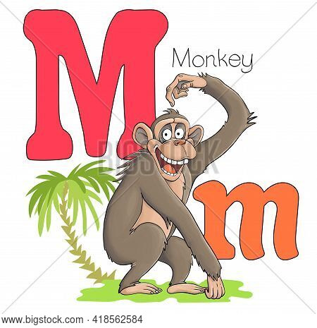 Vector Illustration. Alphabet With Animals. Large Capital Letter M With A Picture Of A Bright, Cute