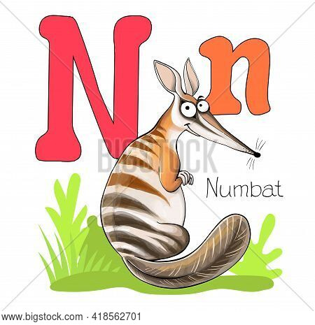 Vector Illustration. Alphabet With Animals. Large Capital Letter N With A Picture Of A Bright, Cute