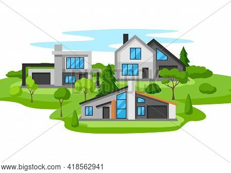 Background With Modern Luxury Houses. Real Country Cottages.