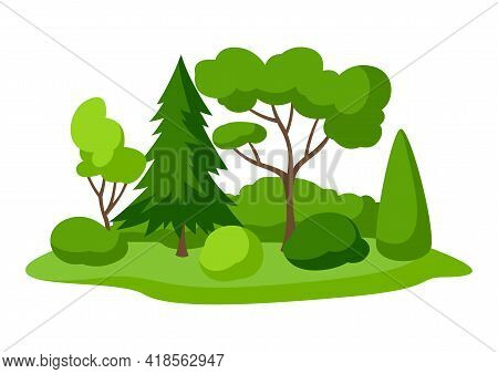Background With Trees, Spruces And Bushes. Summer Or Spring Landscape. Seasonal Illustration.