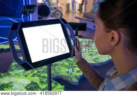 White Screen, Mock Up, Future, Copyspace, Template, Technology Concept. Woman Looking At Blank Inter