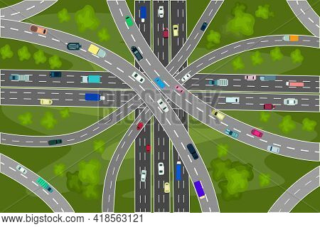Road Junction And Bridges With Many Cars Top View. Modern Highway And Transport. Intersections And O