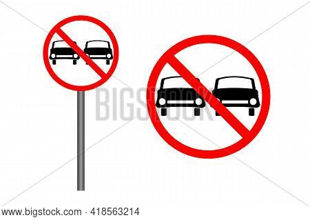 Traffic Sign Prohibited Overtaking Isolated On White Background. Prohibition Road Icon In Flat Style
