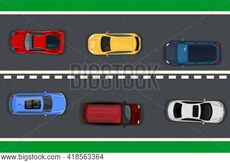 Highway Traffic Concept With Top View Cars On Asphalt Road. Vehicles On The Highway. Various Detaile