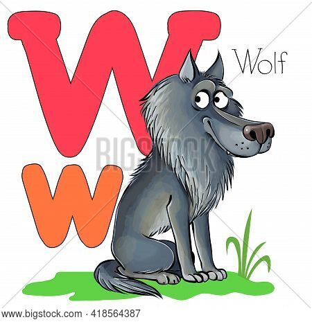 Vector Illustration. Alphabet With Animals. Large Capital Letter W With A Picture Of A Bright, Cute
