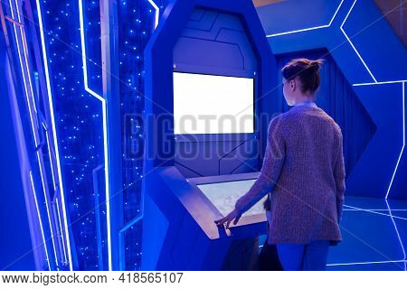 White Screen, Mock Up, Future, Copyspace, Technology Concept. Woman Looking At Blank Interactive Tou