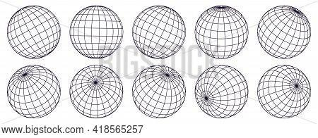 Globe Grid Spheres. Striped 3d Spheres, Geometry Globe Grid, Earth Latitude And Longitude Line Grid