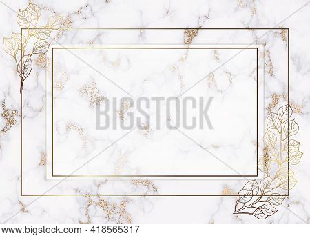Plants Line Gold. Luxurious Transparent Nature. Gradient Gentle Background. Flowers And Branches In