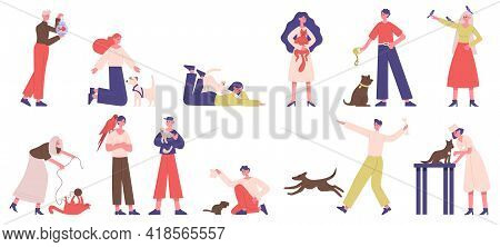 People With Pets. Pet Owners Playing, Walking And Hugging With Dogs, Cats And Birds Vector Illustrat