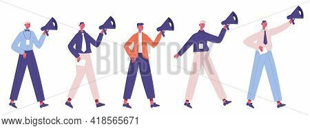 Business Marketing Concept. Promotion, Marketing Strategy Speakers With Megaphones Isolated Vector I