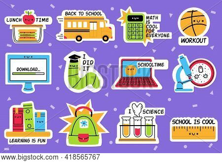 School Stickers. Back To School, Education Badges, School Supplies Hand Drawn Stickers Isolated Vect