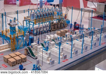 Moscow, Russia - June 01, 2019: Plastic Exhibition. 3d Architectural Model Of Plastic Production Pla