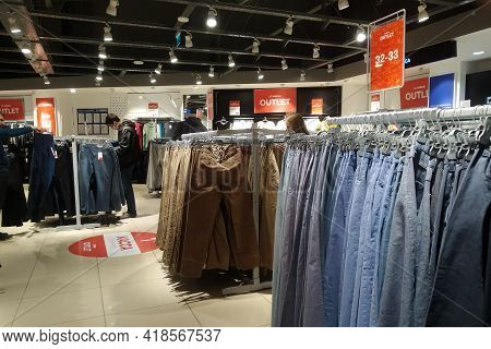 Belarus, Novopolotsk - September 29, 2020: Clothes On Store Shelves Close Up
