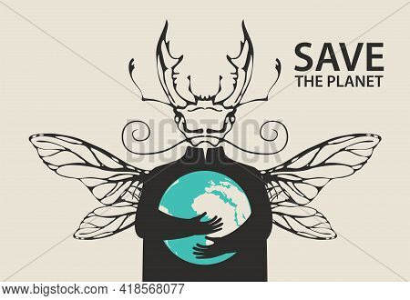 Creative Banner On Theme Of Environmental Protection. Save The Planet. Vector Illustration Of A Myst