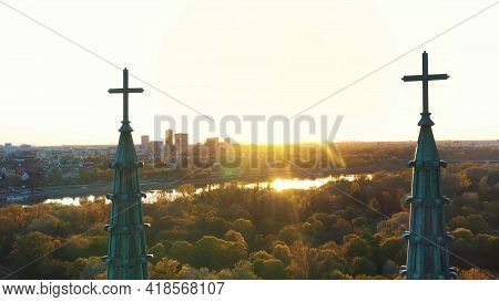 Warsaw, Poland 12.01.2020 - Aerial View Of Cathedral Of St. Michael The Archangel And St. Florian Th