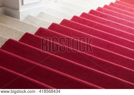 Red Carpet Is On A Marble Stairway, Background Photo Texture