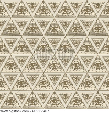Seamless Pattern With All-seeing Eye Inside Triangle Pyramid. Vector Background With Hand-drawn Eye