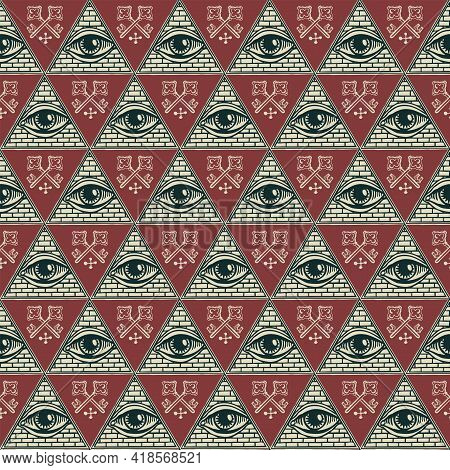 Geometric Seamless Pattern With An All-seeing Eye And Old Crossed Keys On A Burgundy Backdrop. Hand-