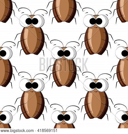 Seamless Vector Pattern With Color Cute Cockroach