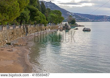 Small Beach At Adriatic Sea Coast Near Trieste Italy