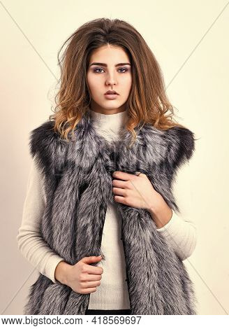 Silver Fur Vest Fashion Clothing. Girl Makeup Face Long Hairstyle Wear Fur Vest White Background. Lu
