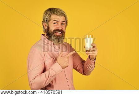 Healthy Food. Lactose Free. Emotional Bearded Man Hold Glass Of Milk. Pasteurized Milk. Vegan Milk C