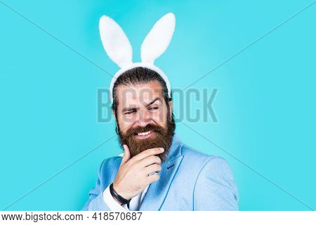 Feeling Excited. Easter Celebration Concept. Man In Bunny Ears. Rabbit Man Wear Hare Ears. Bunny Hun