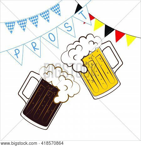Mugs With Lager And Dark Beer Poster Prost For Oktoberfest On White Background