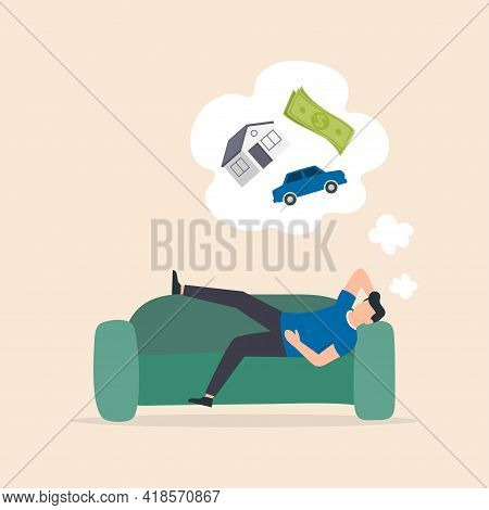 Man Relaxing And Dreaming On The Sofa. Young Man Dreaming Of Wealth. Vector Illustration.