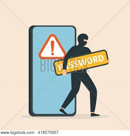 Thief. Hacker Stealing Sensitive Data As Passwords From Smart Phone. Cyber Crime And Hacking. Cyber