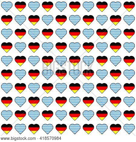 Oktoberfest Vector Hearts With Flags Seamless Pattern On White Background