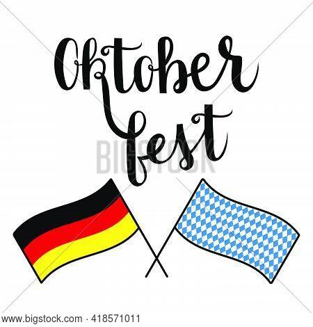 Oktoberfest Handwritten Lettering With German Flag Vector On White Background