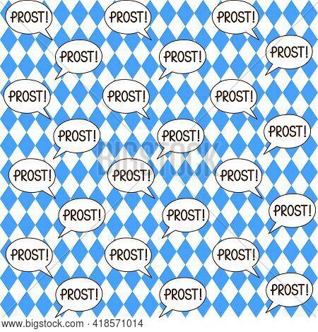 Oktoberfest Vector Seamless Pattern With Prost Bubble Speech On Rhomb Background