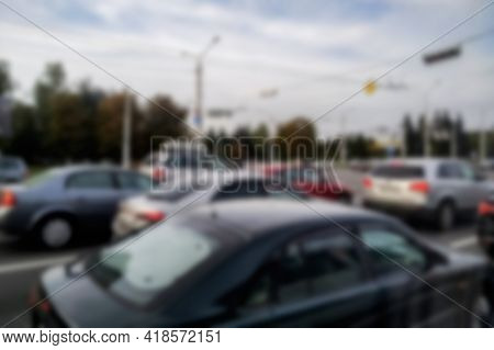 Blurred Background Cars On The Road And Blue Sky