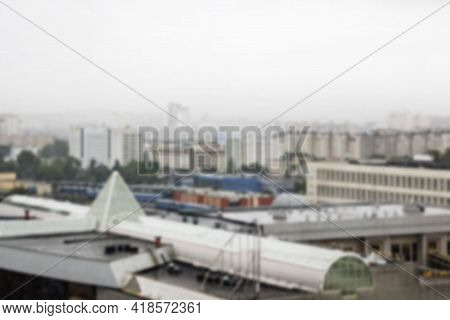 View Of Houses And City Blurred Background, Defocused Effect