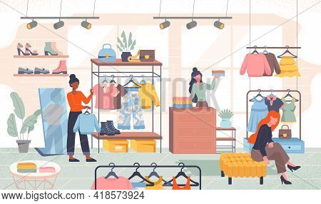 Diverse Multiracial People In Store Choose Clothes. Retail Outlet Concept. Flat Cartoon Vector Illus