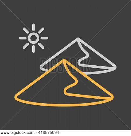 Sand Dunes Vector Icon On Dark Background. Nature Sign. Graph Symbol For Travel And Tourism Web Site