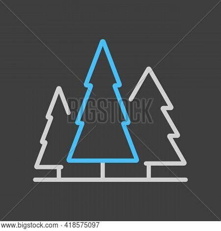 Conifer Forest Vector Icon On Dark Background. Nature Sign. Graph Symbol For Travel And Tourism Web