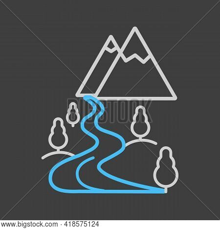 Mountain And River Vector Icon On Dark Background. Nature Sign. Graph Symbol For Travel And Tourism